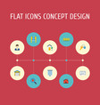 flat icons trinket house wooden barrier and vector image