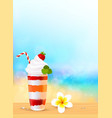 Glass of exotic cocktail with strawberry on beach vector image vector image