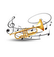 golden trumpet with music notes in background vector image vector image