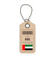 hang tag made in united arab emirates with flag vector image