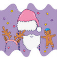 hat and bear to santa claus costume and cookie vector image vector image