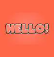 hello hand lettering with red colors vector image