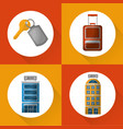 hotel service travel set icons vector image