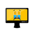 isolated crying computer screen emote vector image vector image