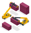 isometric mobile container handler in action at a vector image vector image