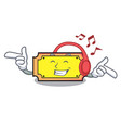 listening music ticket mascot cartoon style vector image
