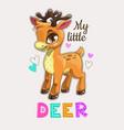 little cute cartoon standing deer patch beautiful vector image vector image