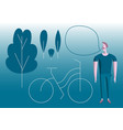 man with bike in park modern flat vector image vector image