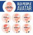old man avatar set face emotions senior vector image