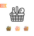 picnic basket thin line icon set vector image