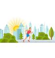 Runner Man in City Park vector image vector image