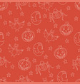 seamless halloween pattern with cartoon characters vector image