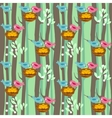 Seamless pattern with spring trees and birds vector image vector image
