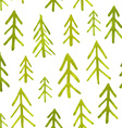 Seamless pattern with watercolor fir trees vector image
