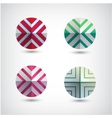 set of abstract round decorated icons vector image