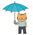 set of cat hold umbrella vector image