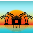 silhouettes bungalow and palm trees against vector image