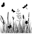 silhouettes of grass with butterflies vector image