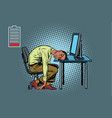 sleeping african businessman at the computer vector image vector image