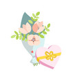 spring bouquet of flowers and a gift in the form vector image