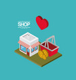 store with sunshade striped red and white and vector image vector image