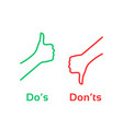 thumbs up or down like dos and donts vector image vector image