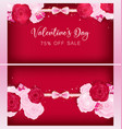 top view valentine floral invitation card vector image
