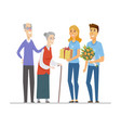 volunteers and senior people - flat design style vector image vector image