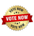vote now 3d gold badge with red ribbon vector image vector image