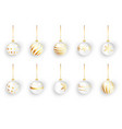 white christmas balls on white isolated set of vector image vector image