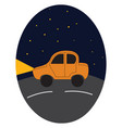 yellow car driving on in the night on white vector image vector image