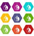 yin yang symbol icon set color hexahedron vector image vector image