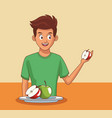 young man and healthy food vector image