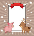 beauty pig and deer card decoration vector image