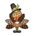 a cute cartoon turkey wearing pilgrim hat vector image