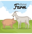 animals farm in the field vector image vector image
