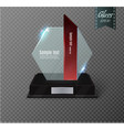 blank glass award trophy on a transparent vector image vector image