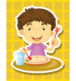 Boy eating vector image vector image