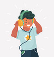 boy enjoying music in headphones vector image