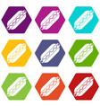 bun and sausage icon set color hexahedron vector image
