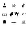 business icon set in black silhouette vector image vector image