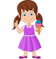 cartoon little girl holding an ice cream vector image vector image