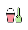 childrens bucket with spatula flat color icon vector image