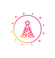 christmas tree present line icon new year spruce vector image vector image