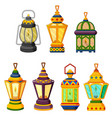 collection of ramadan candle lantern in low light vector image