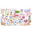 colored doodle beauty salon elements set vector image