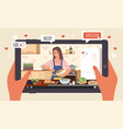cooking live streaming hands hold tablet vector image