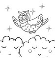 cute cartoon wise flying owl vector image vector image