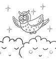 cute cartoon wise flying owl vector image