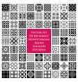 different monochrome retro seamless patterns vector image